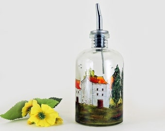 Tuscany oil bottle - Hand painted glass dispenser for oil, vinegar, soap or detergent - Village Provencal collection