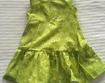 Drop waist ruffle sleeveless dress