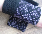 Black traditional lithuanian hand knitted wrist warmers with beaded in plum glass beads