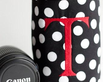 NEW black dot monogrammed Lens Luggage - large
