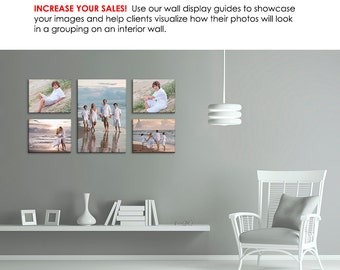 Photography Wall Display Guide - Simply White FAMILY ROOM - (3) Photoshop Layered .psd Templates with Family Room backdrop & image display.