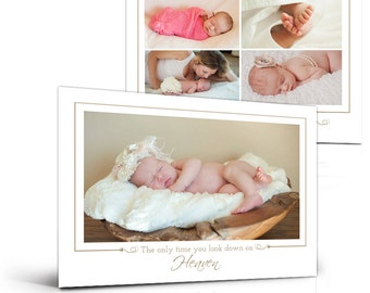 Birth Announcement Templates - LOOKING DOWN On HEAVEN -  5x7 Press Printed Flat Card Photoshop Templates for Photographers & Scrap Bookers.