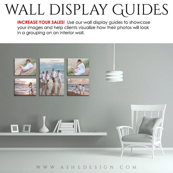 Photography wall display guide simply white family room - Photo wall display template ...