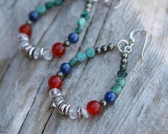 Southwestern earrings, Turquoise jewelry, Gemstone hoop earrings, Boho Earrings