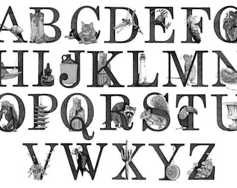 Illustrated Alphabet Reproduction Print Poster