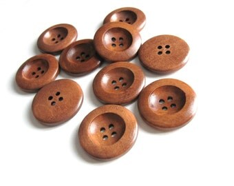 1 inch wooden buttons 6x chocolate brown wooden buttons (BB124)