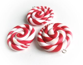 3 Red and white Lollipop Charm Pendants