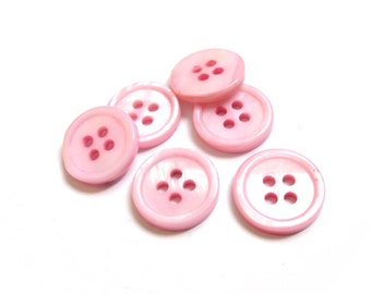 Mother of Pearl Shell Buttons 15mm - set of 6 eco friendly pink buttons  (BN656C)