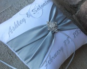 Wedding Ring Bearer Pillow, Personalized, Monogrammed, Custom Wedding Decor, Design Your Own, Snowflake, Rhinestone, Silver White Wedding