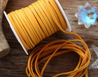 Gold Mustard Deer Suede Lace, Deerskin, 3mm (1/8 inches ), 5 feet pack  / Buckskin, Soft Deer Leather / Jewelry Supplies / Yellow