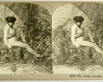 Aerial Acrobat in Swing - Real Photo Stereoview