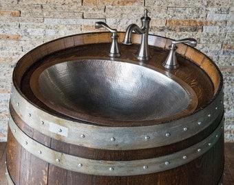 Wine Barrel Vanity with Hammered Nickel Sink