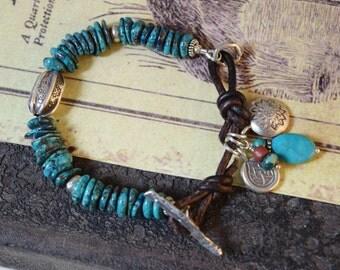 Chrysocolla Bracelet, Boho Leather Bracelet, Sundance Style Jewelry
