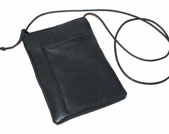 Black Deerskin Zipper Casey with Front Pocket Cross Body Pouch Handmade