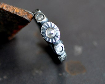 rose cut diamond ring, forged and flush set dark sterling silver ring with gemstones, eco friendly, April birthstone