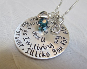Mommy Necklace in Sterling Silver  -  I'll love you forever. I'll like you for always. Infinity Birthstone Crystal