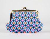 Frame purse - Piazza blue - Daddy purse / Petit Pan french fabric / Neon pink orange / turquoise cobalt / geometric dots / deep purple
