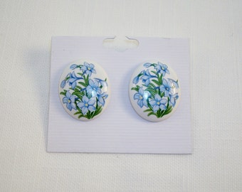 Vintage Floral Oval Earrings
