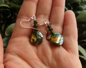 Lampworked Glass Earrings. Mustard and Dark Green Dangles