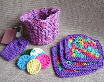 Spa Gift Set Purple Rainbow Bath Gift Set Washcloths, Scrubbies in Orchid & Pink Spa Basket - Set A
