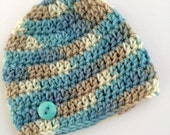 Newborn boy 0-3 months baby hat blue tan white beanie infant hat baby photo prop Ready To Ship