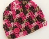 Newborn girl 0-3 months baby hat Pink brown camo beanie infant hat baby photo prop Ready To Ship