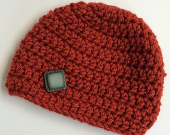 Newborn girl 0-3 months baby hat beanie rust red autumn fall theme infant hat baby photo prop Ready To Ship
