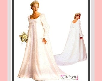 RENAISSANCE BRIDAL GOWNS-Designer Sewing Pattern-Three Styles-Empire Waist-Cathedral Train-Romantic Sleeve Designs-Uncut-Size 14-18-Rare