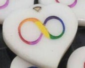 Neurodiversity Autistic Pride Infinity Rainbow Heart Pendant