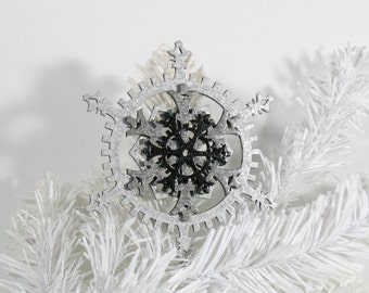 Industrial Gothic Silver and Black 5-inch Steampunk Snowflake Gears Ornament