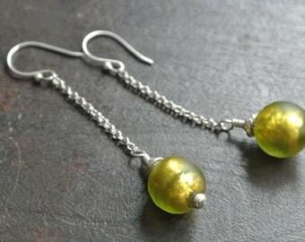 Lime Colored Green Glass- Bali Silver Earrings- Long Earrings