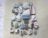 AWESOME BEACHGLASS POTTERY Shards Arts and Craft Mosiacs or Jewelry Sized Pieces  zy915