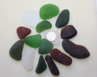 AWESOME BEACH GLASS  Large Pendent Size Beauties in Beautiful Greens Whites and Ambers  zy871