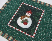Quilted Christmas Mug Rug Snack Mat Snowman Green White