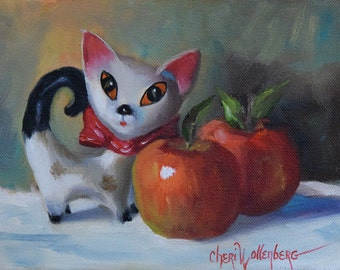 Oil Painting,Retro Cat And Red Apples,Still Life,Original Canvas Painting by Cheri Wollenberg