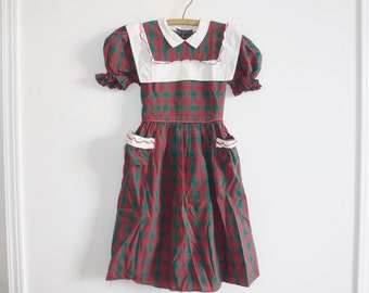 Vintage Green and Red Plaid Dress