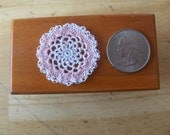 "Miniature Dollhouse Crochet Doily White & Pink Lace 1 1/2"" Diameter"