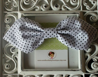 INVENTORY BLOWOUT SALE---Retro Fabric Bow----White with Black Dots----Ready to Ship----