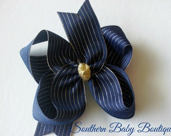 NEW----Big Boutique Hair Bow Clip----Navy and Thin Gold Stripes---School Bow