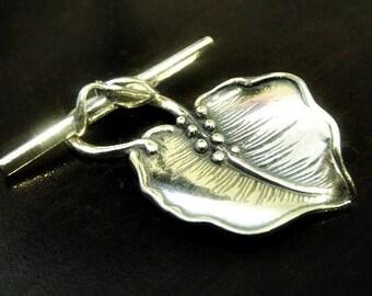 Sterling Silver Falling Leaf Toggle, 925 Silver Large Leaf Clasp, Leaf: 34x22m, Bar 28x6mm, 1 set, ST307