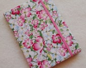 Batik Covered Pocket Memo Book, DOGWOOD , Refillable Mini Composition Notebook Cover in Pink Floral Print