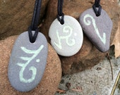 Glowing Rune Beach Stone Pendant