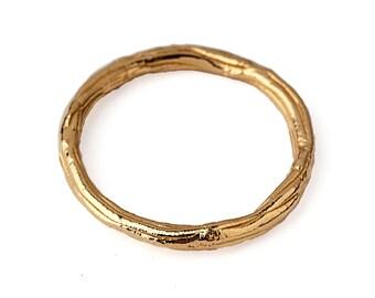 TWIG Ring, Thin Wedding Band, Gold Wedding Band Ring, Thin Gold Ring, 14k Yellow Gold Wedding Band, Organic Gold Ring