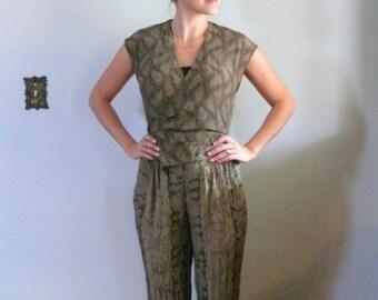 vintage 1980s jumpsuit  // rayon printed romper