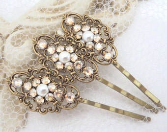 Wedding hair pins, Bridal hair pins, Bobby pins, Swarovski crystal pins, Rhinestone hair pins, Vintage hair clip, Hair pin trio