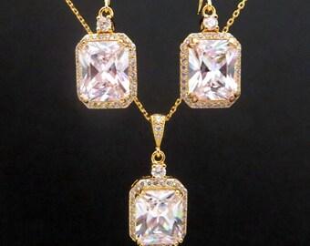 Crystal Bridal earrings, Gold Wedding earrings, Emerald cut earrings, Bridesmaid jewelry, Necklace set, Wedding necklace, Vintage style