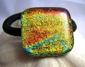 Red Orange Gold Hair Tie - Pony tail Holder -Dichroic Fused Glass - OOAK Dichro glass- wearable Art