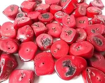 47 Dark Red Opaque Glass Beads Chunky Organic Shapes Stone Like Markings