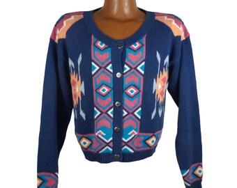 Women's Southwestern Sweater Vintage 1980s Cardigan Tribal Size L
