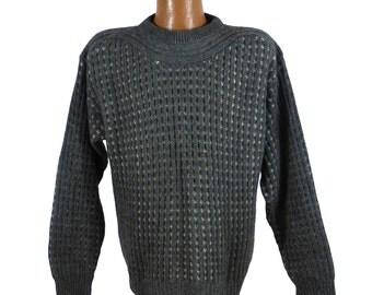 Wool Sweater Vintage 1980s Daniel Hechter Pullover Men's Gray